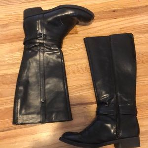 Knee high leather boots water proof